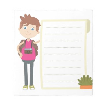 Beach Themed Brown Hair Blue Eye Boy Cartoon Notepad with Lines