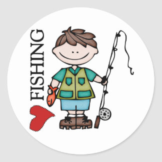 Brown Hair Boy I Love Fishing Classic Round Sticker