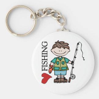 Brown Hair Boy I Love Fishing Keychain