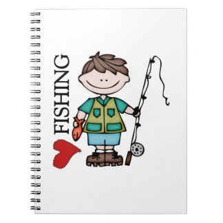 Brown Hair Boy I Love Fishing Spiral Notebooks