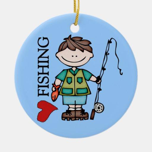 Brown Hair Boy I Love Fishing Christmas Ornament