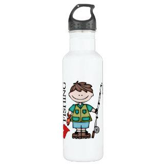 Brown Hair Boy I Love Fishing 24oz Water Bottle
