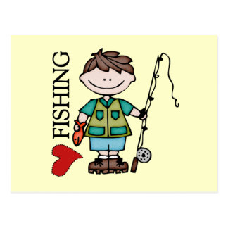 Brown Hair Boy I Love Fishing Postcard