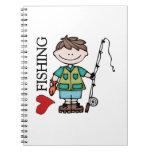 Brown Hair Boy I Love Fishing Spiral Notebooks