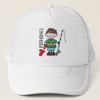 Brown Hair Boy I Love Fishing Trucker Hat
