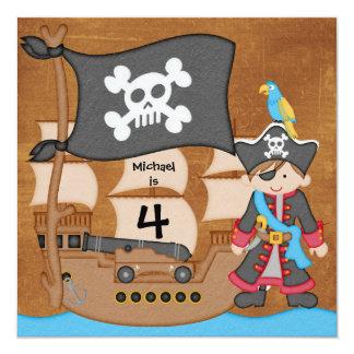 Brown Hair Boy Pirate Ship Birthday Invitations