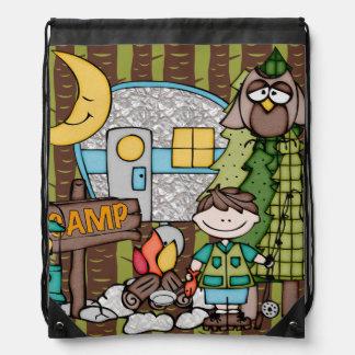Brown Hair Boy's Camping Adventure Drawstring Bag