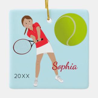 Brown Hair Braid Tennis Player Keepsake Ceramic Ornament