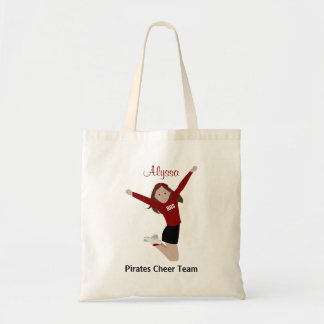 Brown Hair Cheerleader in Black and Red Tote Bag