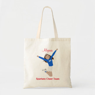 Brown Hair Cheerleader in Blue and White Tote Bag