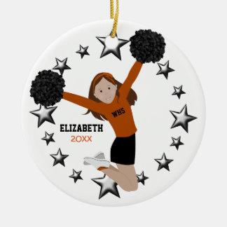 Brown Hair Cheerleader Pom Poms In Orange & Black Ceramic Ornament
