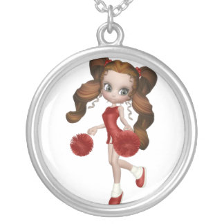 Brown Hair Cheerleader Silver Plated Necklace
