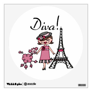 Brown Hair Diva Wall Graphic