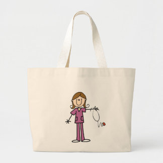 Brown Hair Female Stick Figure Nurse Jumbo Tote Bag