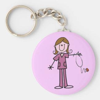 Brown Hair Female Stick Figure Nurse Basic Round Button Keychain