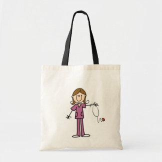 Brown Hair Female Stick Figure Nurse Canvas Bag