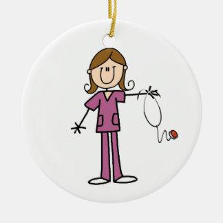 Brown Hair Female Stick Figure Nurse Ceramic Ornament