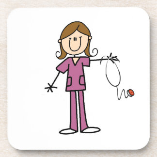 Brown Hair Female Stick Figure Nurse Drink Coaster