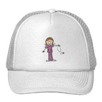 Brown Hair Female Stick Figure Nurse Trucker Hat