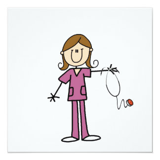 Brown Hair Female Stick Figure Nurse Invitation