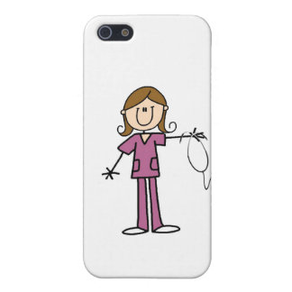 Brown Hair Female Stick Figure Nurse iPhone SE/5/5s Case