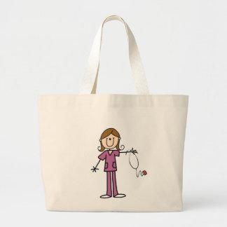 Brown Hair Female Stick Figure Nurse Large Tote Bag