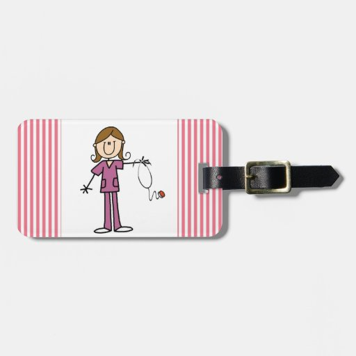 Brown Hair Female Stick Figure Nurse Tag For Bags