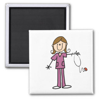 Brown Hair Female Stick Figure Nurse Magnet