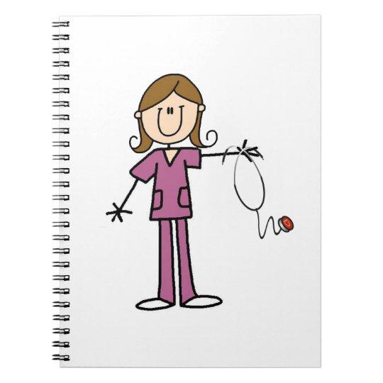 Brown Hair Female Stick Figure Nurse Notebook