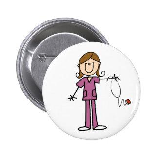 Brown Hair Female Stick Figure Nurse Pinback Button