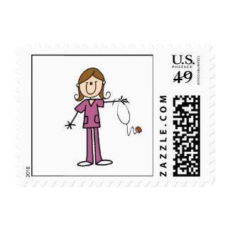 Brown Hair Female Stick Figure Nurse Postage Stamps