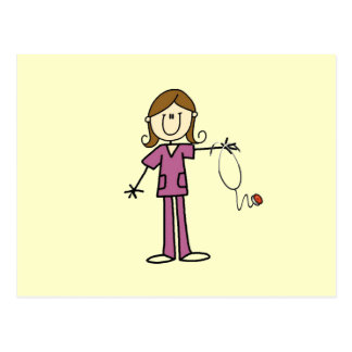 Brown Hair Female Stick Figure Nurse Postcard