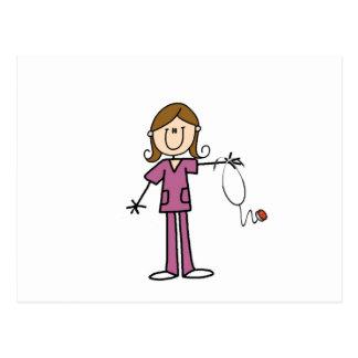 Brown Hair Female Stick Figure Nurse Postcard