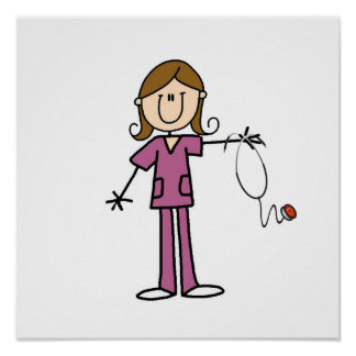 Brown Hair Female Stick Figure Nurse Posters