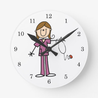 Brown Hair Female Stick Figure Nurse Round Clock