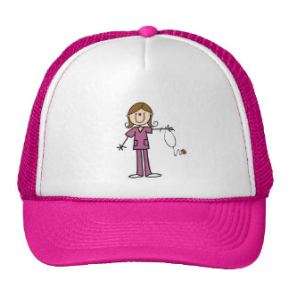 Brown Hair Female Stick Figure Nurse Trucker Hat