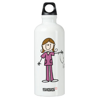 Brown Hair Female Stick Figure Nurse Water Bottle