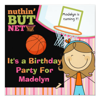 "Brown Hair Girl Basketball Birthday Invite 5.25"" Square Invitation Card"