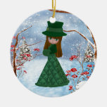 Brown Hair Girl, Christmas, Snow Double-Sided Ceramic Round Christmas Ornament
