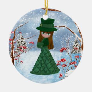 Brown Hair Girl, Christmas, Snow Christmas Ornaments