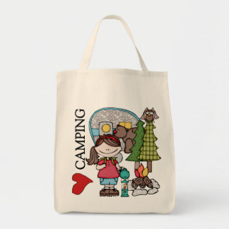 Brown Hair Girl I Love Camping Canvas Bags