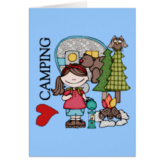 Brown Hair Girl I Love Camping Stationery Note Card