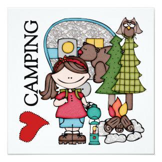 Brown Hair Girl I Love Camping Card