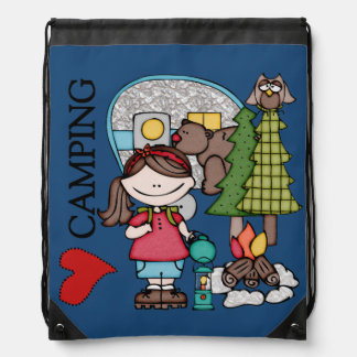 Brown Hair Girl I Love Camping Drawstring Bag
