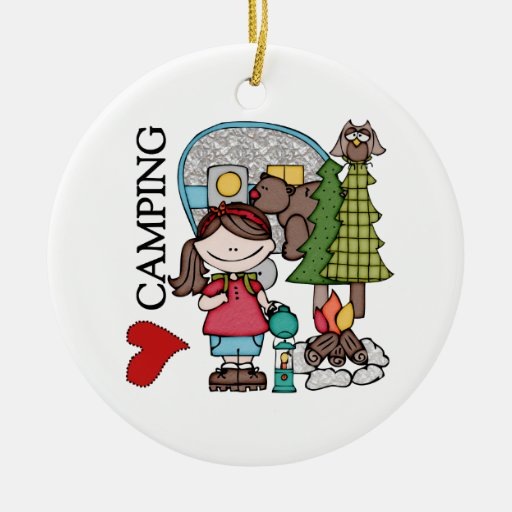 Brown Hair Girl I Love Camping Double-Sided Ceramic Round Christmas Ornament
