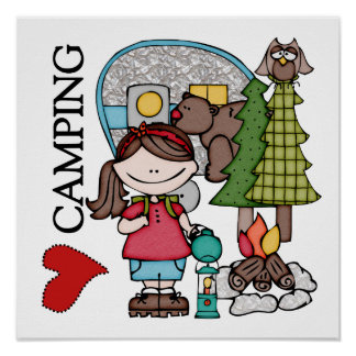 Brown Hair Girl I Love Camping Posters