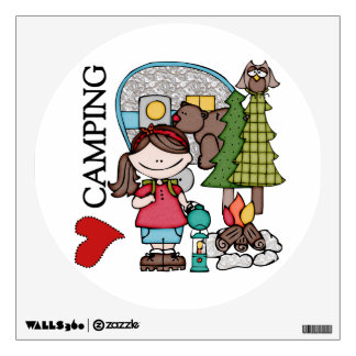 Brown Hair Girl I Love Camping Wall Stickers
