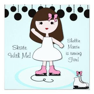 Brown Hair Girl Ice Skating Party Invitations
