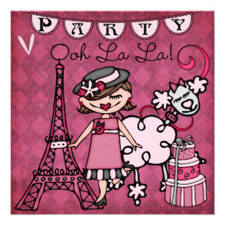Brown Hair Girl Ooh La La Paris Birthday Invite