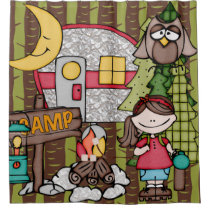 Brown Hair Girl Outdoors Camping Vacation Shower Curtain